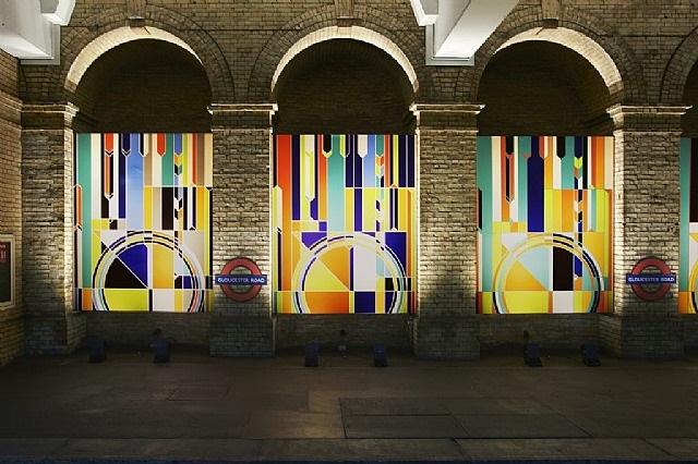 'art on the underground: big ben [2012]', gloucester road tube station, london by sarah morris
